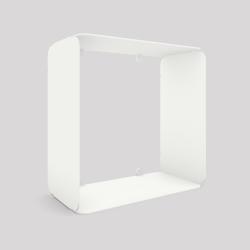 Cube-étagère en acier, blanc