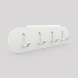Porte-clefs en acier se fixe sur l'étagère ou sur le mur, blanc