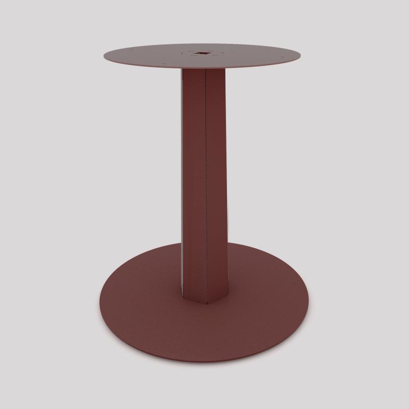 Pied central en acier, monopied, pour table haute ou basse, coloris red-brown métallisé.