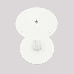 Pied central en acier, monopied, pour table haute ou basse, coloris blanc. Vue de dessus.