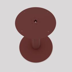Pied central en acier pour table haute ou basse, coloris red-brown métallisé. Vue de dessus.