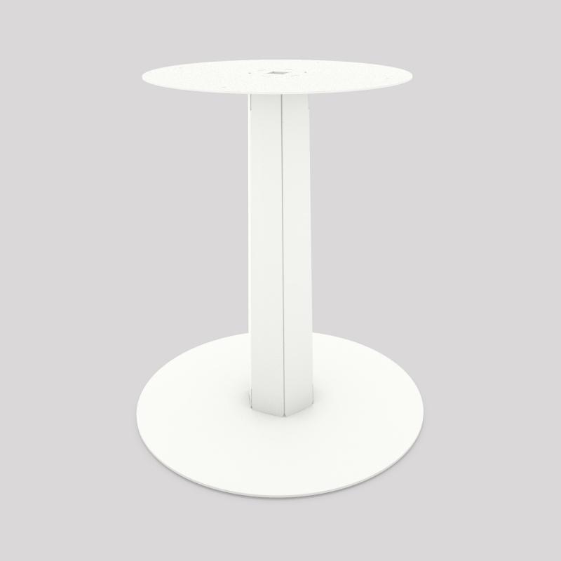 Pied central en acier, monopied, pour table haute ou basse, coloris blanc