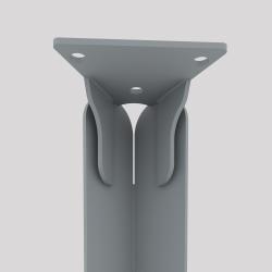 Haut du pied créatif à visser en acier couleur gris métallisé