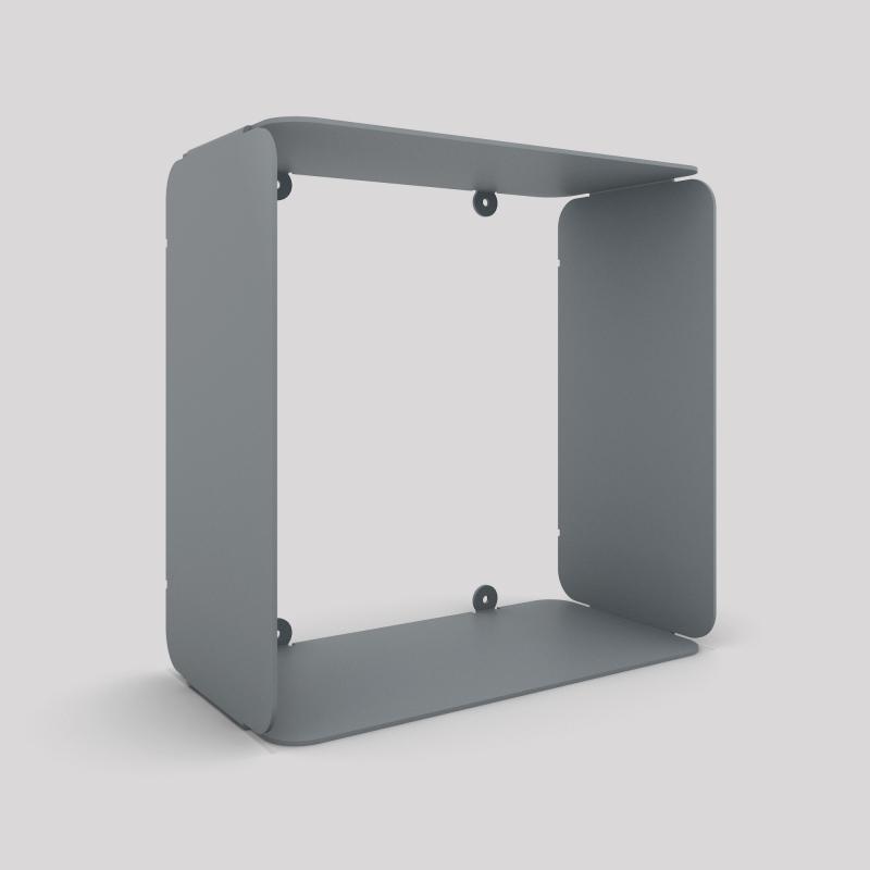 Cube-étagère en acier, gris métallisé