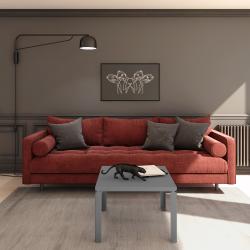 Table basse en acier, forme carré, dans votre salon