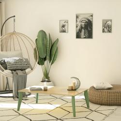Table basse avec les pieds profilé à visser en acier, coloris vert