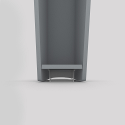 Bas du pied profilé à visser en acier, hauteur 390 mm, coloris gris métallisé