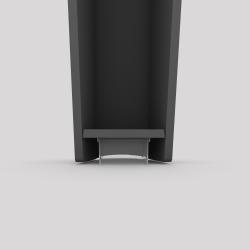 Bas du pied profilé à visser en acier, hauteur 390 mm, coloris carbone