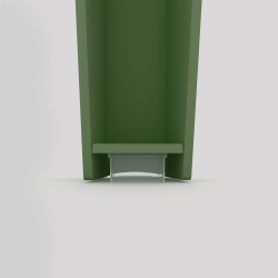Bas du pied profilé à visser en acier, hauteur 390 mm, coloris vert