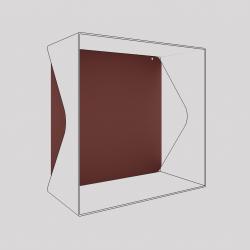 Plaque du cube-étagère échancré en acier, red-brown métallisé