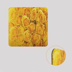 Voile de fond décoratif pour cube-étagère, motif roses jaunes