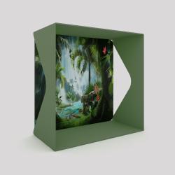 Voile de fond motif jungle avec le cube-étagère échancré en acier couleur vert