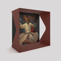 Voile de fond derviches tourneurs et le cube-étagère échancré en acier couleur red-brown métallisé
