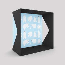 Voile de fond motif ours blanc sur fond bleu avec le cube-étagère échancré en acier couleur carbone