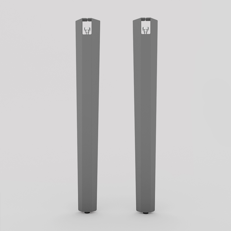 Lot de 2 pieds en acier d'angle à vis-étau, pour table, bureau, console, coloris gris métallisé