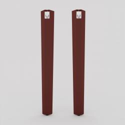 Lot de 2 pieds en acier d'angle à vis-étau, pour table, bureau, console, coloris red brown métallisé