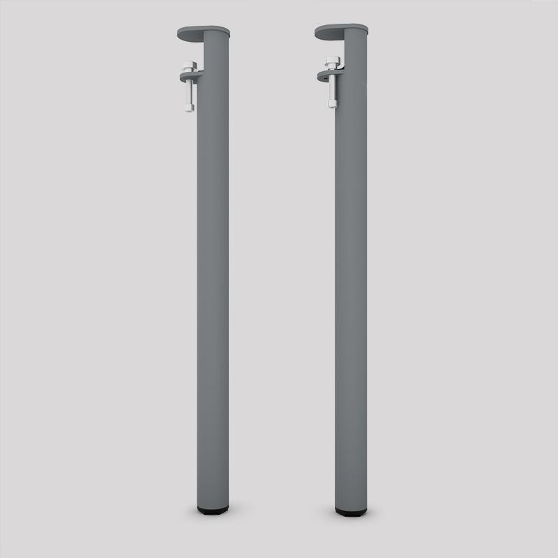Lot de 2 pieds acier fixation vis étau, pour table, bureau, console, coloris gris métallisé